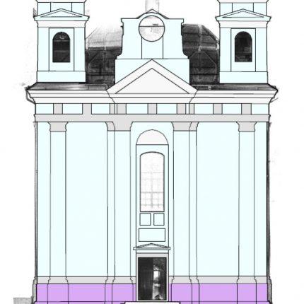 kostel - plochy omítek