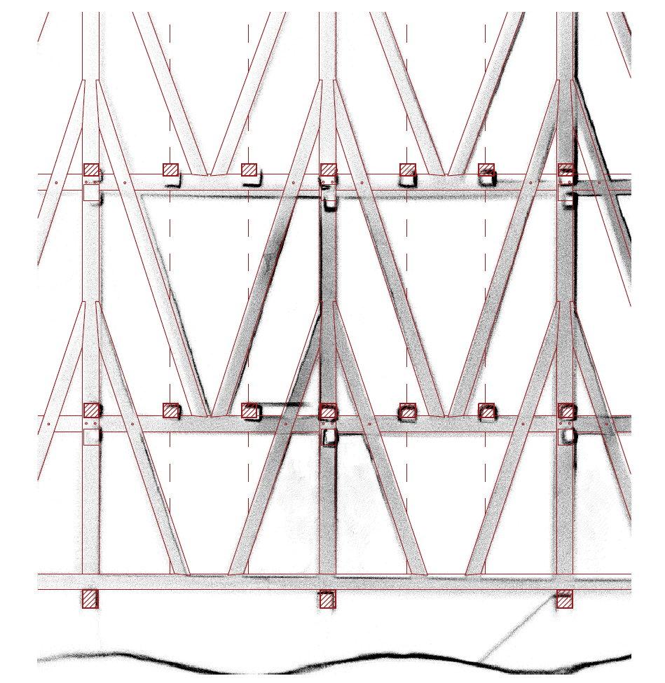 3d skenování historického krovu – podélný řez