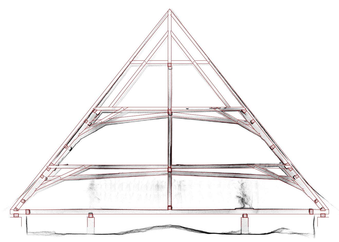 3d skenování historického krovu – příčný řez